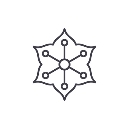 Jasmine line icon, vector illustration. Jasmine flat concept sign.
