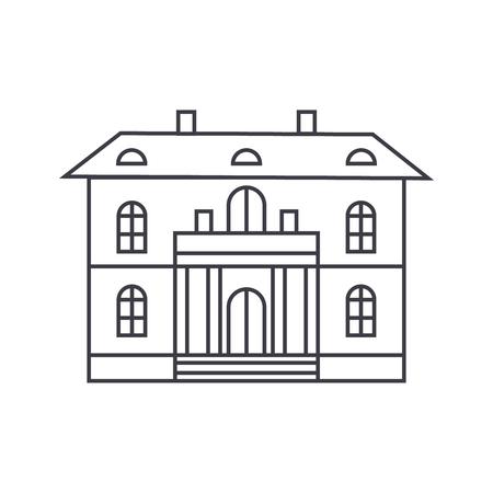 Cute villa thin line icon, vector illustration. Cute villa linear concept sign.