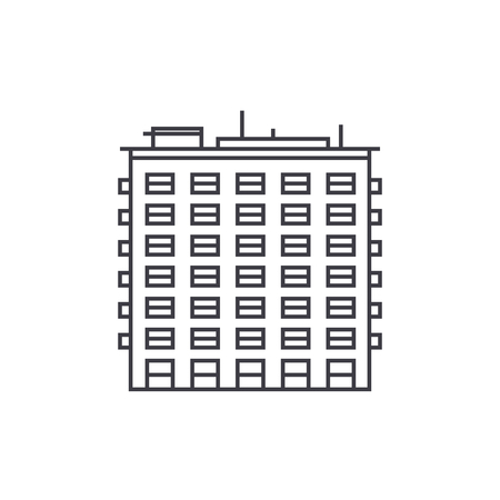 Multi storey building thin line icon, vector illustration. Multi storey building linear concept sign. Illustration