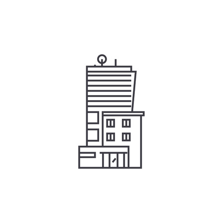 Office business building thin line icon, vector illustration. Office business building linear concept sign.