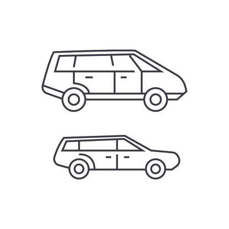 Minivan thin line icon, vector illustration. Minivan linear concept sign.