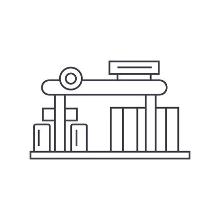 Gas station thin line icon, vector illustration. Gas station linear concept sign. Illustration