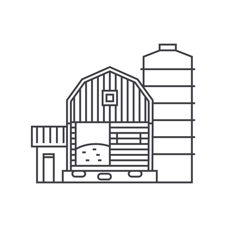 Farm thin line icon, vector illustration. Farm linear concept sign.