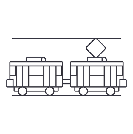 Tram thin line icon, vector illustration. Tram linear concept sign.