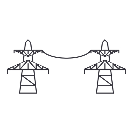 Transmission lines thin line icon, vector illustration. Transmission lines linear concept sign.