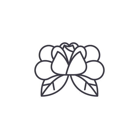 Water lily line icon concept. Water lily flat vector sign, symbol, illustration. Illustration