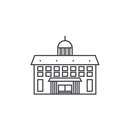Administrative building thin line icon, vector illustration. Administrative building linear concept sign.