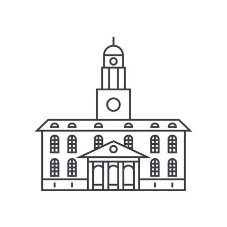 University building thin line icon, vector illustration. University building linear concept sign. Archivio Fotografico - 102208769