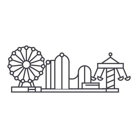 Amusement park thin line icon, vector illustration. Amusement park linear concept sign. Illustration
