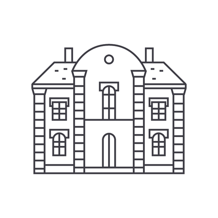Villa castle thin line icon, vector illustration. Villa castle linear concept sign.