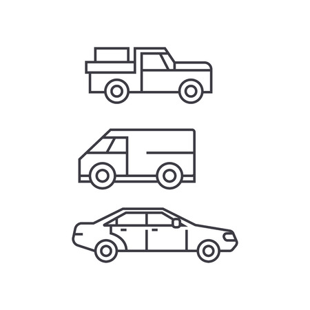 Pickup car thin line icon, vector illustration. Pickup car linear concept sign.