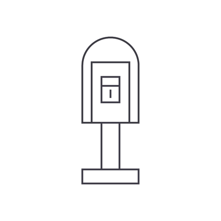 Post office box thin line icon, vector illustration. Post office box linear concept sign.