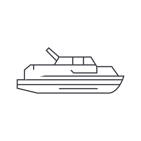 Yacht thin line icon, vector illustration. Yacht linear concept sign.