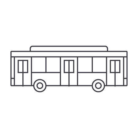 Bus thin line icon, vector illustration. Bus linear concept sign. Illustration