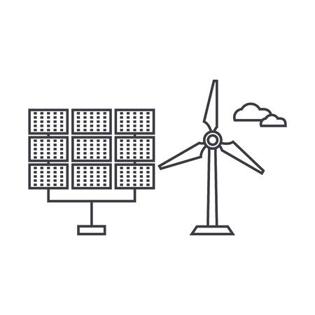 Renewable energy thin line icon, vector illustration. Renewable energy linear concept sign. Vectores