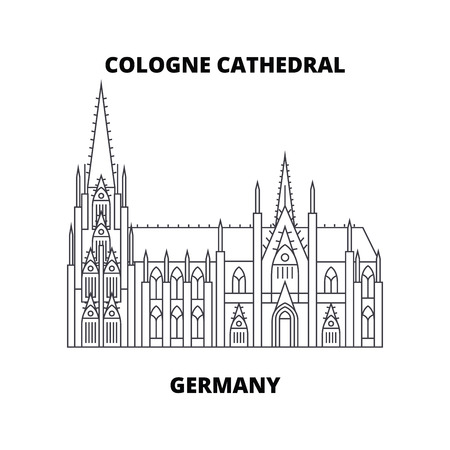 Cologne Cathedral, Germany  line icon, vector illustration. Cologne Cathedral, Germany  linear concept sign.