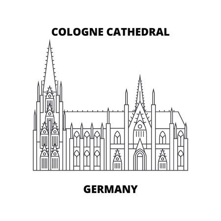 Kölner Dom, Deutschland Linienikone, Vektorillustration. Kölner Dom, Deutschland lineares Konzeptzeichen.