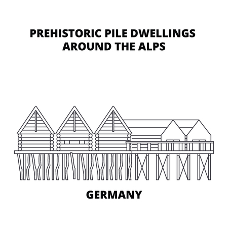 Germany, Prehistoric Pile Dwellings Around The Alps line icon, vector illustration. Germany, Prehistoric Pile Dwellings Around The Alps linear concept sign.
