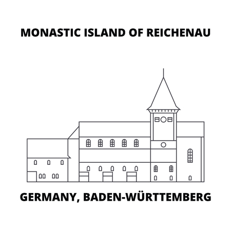 Germany, Baden-Wurttemberg, Monastic Island Of Reichenau line icon, vector illustration. Germany, Baden-Wurttemberg, Monastic Island Of Reichenau linear concept sign.