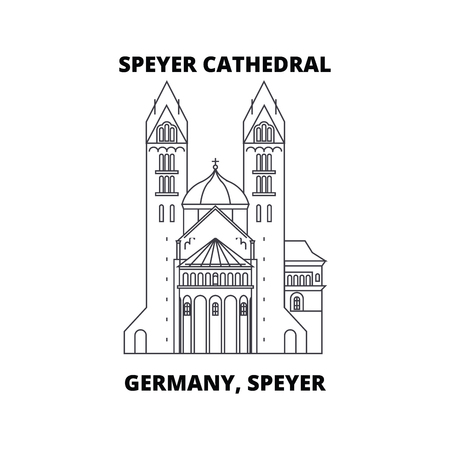 Deutschland, Speyer, Speyer Kathedrale Linienikone, Vektorillustration. Deutschland, Speyer, Speyer Kathedrale lineares Konzeptzeichen