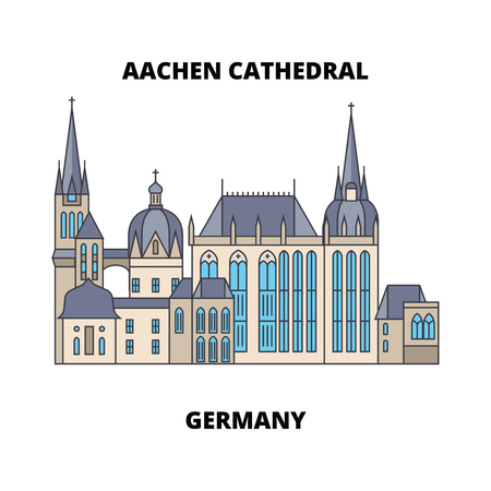 Aachen Cathedral, Germany line famous landmark, vector illustration. Aachen Cathedral, Germany flat concept icon, sign. Ilustração