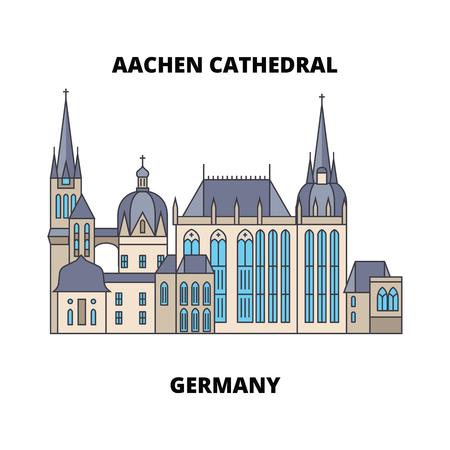 Aachener Dom, Deutschland Linie berühmtes Wahrzeichen, Vektorillustration. Aachener Dom, Deutschland flache Konzeptikone, Zeichen.