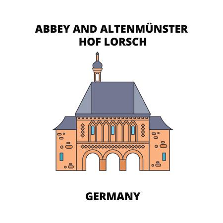 Abbaye, Lorsch, icône de ligne Allemagne, illustration vectorielle. Abbaye, Lorsch, Allemagne signe concept plat.