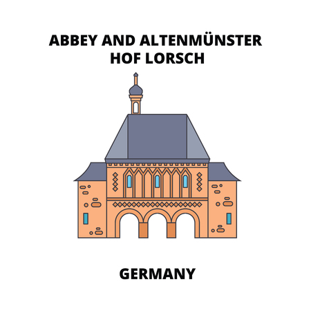Abbey, Lorsch, Germany line icon, vector illustration. Abbey, Lorsch, Germany flat concept sign. 스톡 콘텐츠 - 102463241
