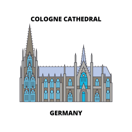 Cologne Cathedral, Germany  line icon, vector illustration. Cologne Cathedral, Germany  flat concept sign.