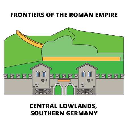 Frontiers Of The Roman Empire, Central Lowlands, Northern England line icon, vector illustration. Frontiers Of The Roman Empire, Central Lowlands, Northern England flat concept sign. Çizim