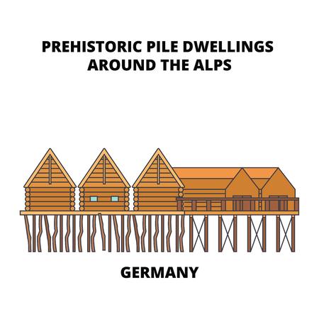 ドイツ、アルプス線アイコンの周りの先史時代の杭住居、ベクトルイラスト。ドイツ、アルプスの平らなコンセプトサインの周りの先史時代の山の住居。 写真素材 - 102463265