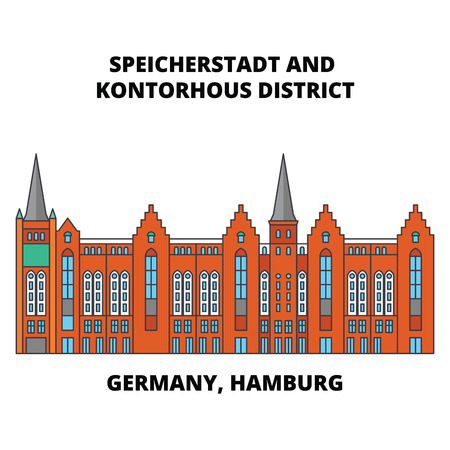 Germany, Hamburg, Speicherstadt District line icon, vector illustration. Germany, Hamburg, Speicherstadt District flat concept sign.