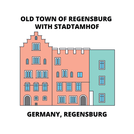 Germany, Regensburg, Old Town Stadtamhof line icon, vector illustration. Germany, Regensburg, Old Town Stadtamhof flat concept sign.