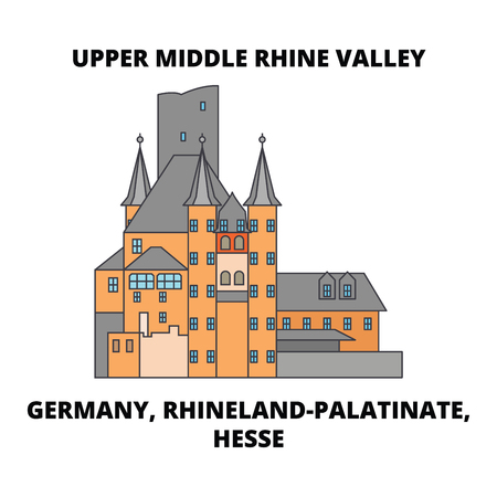 Germany, Rhineland-Palatinate, Hesse, Upper Middle Rhine Valley line icon, vector illustration. Germany, Rhineland-Palatinate, Hesse, Upper Middle Rhine Valley flat concept sign.