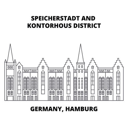 Germany, Hamburg, Speicherstadt District line icon, vector illustration. Germany, Hamburg, Speicherstadt District linear concept sign Illustration