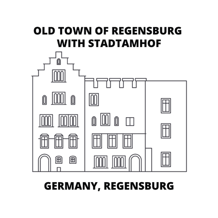 Germany, Regensburg, Old Town Stadtamhof line icon, vector illustration. Germany, Regensburg, Old Town Stadtamhof linear concept sign.  イラスト・ベクター素材