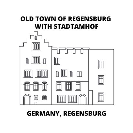 Germany, Regensburg, Old Town Stadtamhof line icon, vector illustration. Germany, Regensburg, Old Town Stadtamhof linear concept sign. Illustration
