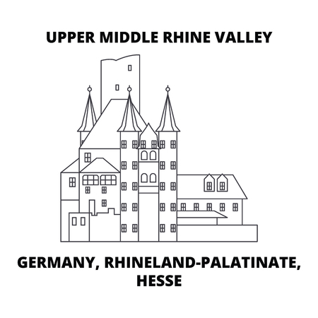 Germany, Rhineland-Palatinate, Hesse, Upper Middle Rhine Valley line icon, vector illustration. Germany, Rhineland-Palatinate, Hesse, Upper Middle Rhine Valley linear concept sign. Illusztráció