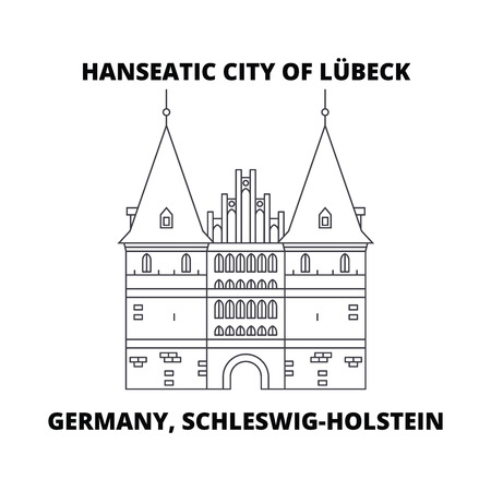 Germany, Schleswig-Holstein, Hanseatic City Of Lubeck  line icon, vector illustration. Germany, Schleswig-Holstein, Hanseatic City Of Lubeck  linear concept sign. Фото со стока - 102744814