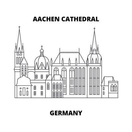 Aachen Cathedral, Germany line famous landmark, vector illustration. Aachen Cathedral, Germany linear concept icon, sign. Banque d'images - 102408317