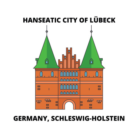 Germany, Schleswig-Holstein, Hanseatic City Of Lubeck  line icon, vector illustration. Germany, Schleswig-Holstein, Hanseatic City Of Lubeck  flat concept sign.