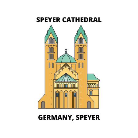 Deutschland, Speyer, Speyer Kathedrale Linienikone, Vektorillustration. Deutschland, Speyer, Flacher Konzeptschild der Kathedrale von Speyer