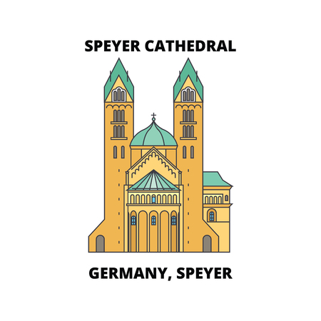 Germany, Speyer, Speyer Cathedral line icon, vector illustration. Germany, Speyer, Speyer Cathedral flat concept sign Ilustração