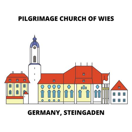 Germany, Steingaden, Pilgrimage Church Of Wies line icon, vector illustration. Germany, Steingaden, Pilgrimage Church Of Wies flat concept sign.