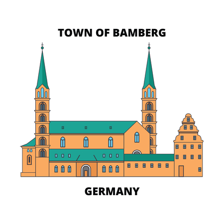 Germany, Town Of Bamberg line icon, vector illustration. Germany, Town Of Bamberg flat concept sign.  イラスト・ベクター素材