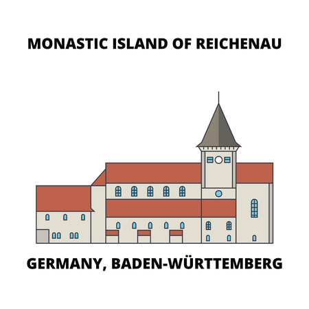 Germany, Baden-Wurttemberg, Monastic Island Of Reichenau line icon, vector illustration. Germany, Baden-Wurttemberg, Monastic Island Of Reichenau flat concept sign. Imagens - 102745070