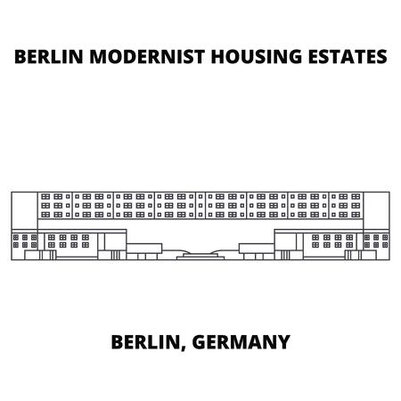 Berlin Modern Houses  line icon, vector illustration. Berlin Modern Houses  linear concept sign. Фото со стока
