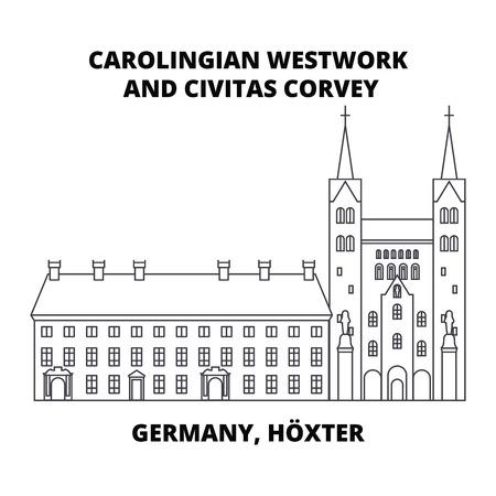 Carolingian Westwork et Civitas Corvey, Allemagne, icône de la ligne Hoxter, illustration vectorielle. Westwork carolingien et Civitas Corvey, Allemagne, signe de concept linéaire Hoxter.