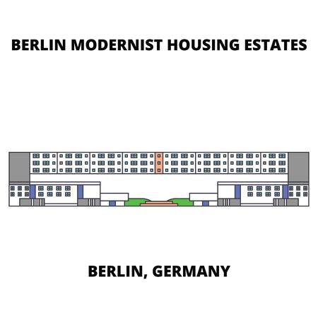 Berlin Modern Houses  line icon, vector illustration. Berlin Modern Houses  flat concept sign.