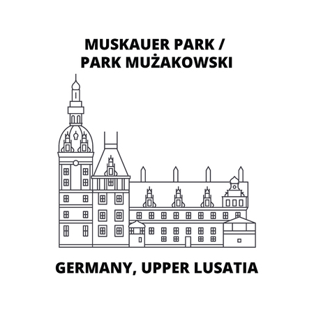 Germany, Lusatia, Park Muzakowski, line icon, vector illustration. Germany, Lusatia Park Muzakowski flat concept sign 向量圖像
